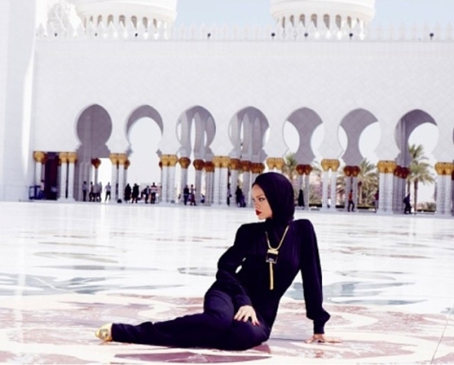 Rihanna at the Shaikh Zayed Mosque in Abu Dhabi.
