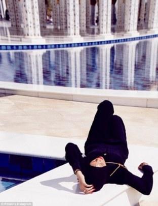 Rihanna at the Shaikh Zayed Mosque in Abu Dhabi.